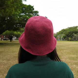 Mama の Hand-made cap - fall and winter hat cotton rope - simple in the dome - retro burgundy / Valentine's Day