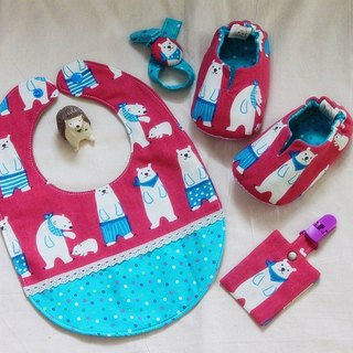 Handsome scarf bear (pink taro) shoes + bag + Pacifier chain + talismans bags (blessing) bag. Births ceremony. The full moon ceremony