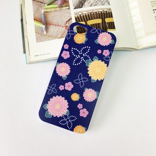 Japan Kimono Deep Blue Pattern Print Soft / Hard Case for iPhone X,  iPhone 8,  iPhone 8 Plus,  iPhone 7 case, iPhone 7 Plus case, iPhone 6/6S, iPhone 6/6S Plus, Samsung Galaxy Note 7 case, Note 5 case, S7 Edge case, S7 case