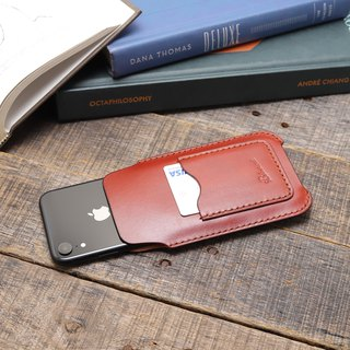 Minimal coffee red hand dyed yak leather handmade iPhone case / bare metal