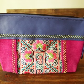 【Grooving the beats】[ Fair Trade] Leather and Suede Vintage Hmong Tribal Clutch Handmade Thailand / Cosmetic Bag(Pink)