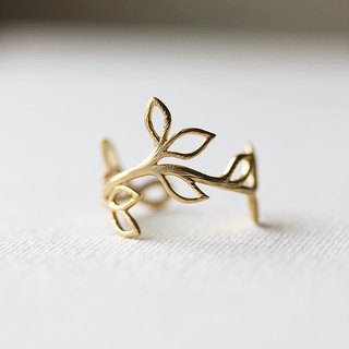 Delicate Leaf Branch ring - Silver OR Gold, Everyday jewelry, Leaf Ring, Vine Ring,Adjustable Ring,Gift for Her