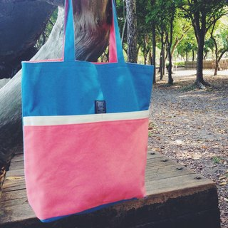 :Bangstree:: Multifunctional canvas shoulder bag-blue+white+pink