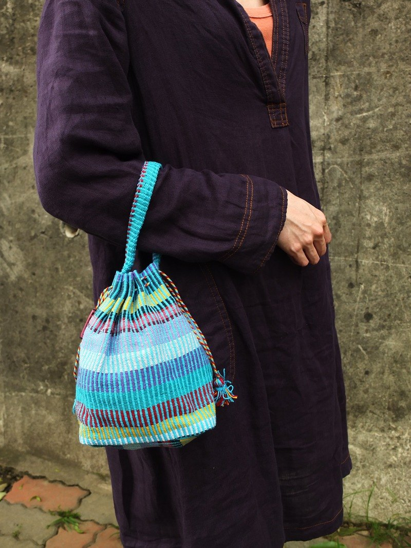 【Grooving the beats】Handmade Hand Woven String Pouch / Draw String Bag / Hand Bag(Blue)