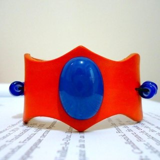 The Leather Bracelet of crown style, similar gem series --orange color