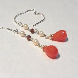 Tong Ling set record 925 sterling silver ornaments ~ {feather} carnelian natural light pearl red pomegranate Handmade Dangle Earrings Multi