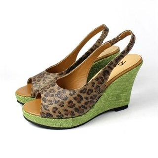 │ Leopard fish mouth wedge sandals