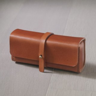 Light brown vegetable cow hide leather Pencil Case/Pen Pouch/ Sunglasses Case