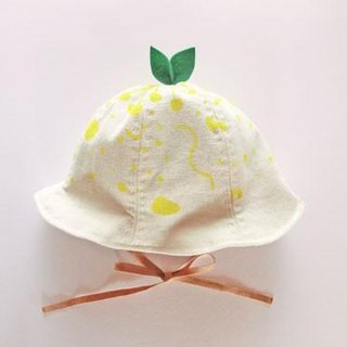 Grow Up! Leaf Hat for Baby & Toddler  /Original Hand-painted fabric/  Leaves and Nutrients (Ivory)