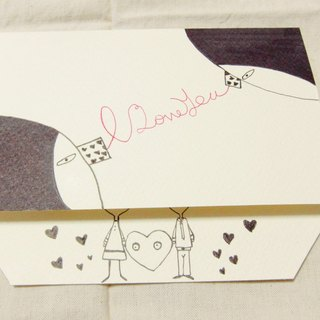 Bigheadedness girl to valentine card (I LOVE YOU)