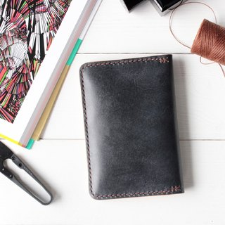 Rustic meteorite black hand dyed yak leather handmade passport holder