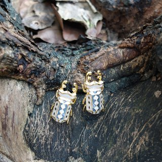 Glorikami White and Black Stag Beetle earrings