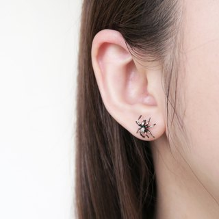 925 Silver  Black spider earrings Sold as a Pair