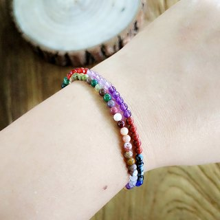 """Natural semi-precious stones - Birthstone series"" Colorful double ring bracelet"