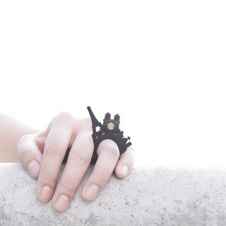 SUE BI DO WA - 手工製作皮革併合手織戒指-Paris 100% handmade leather mix with yarn Ring(Paris)