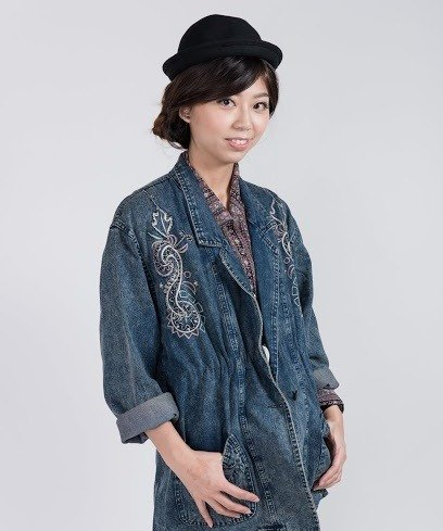 Vintage denim jacket _ / embroidery carved / Unisex