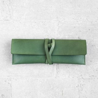 Green Leather Pencil Case/Pen Pouch/ Sunglasses Case