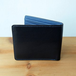 Isni eight card short wallet free embossed word + gift package midnight blue / star sea blue European cowhide