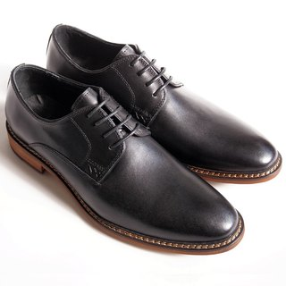 [LMdH] B1A15-99 hand-painted wood with plain calfskin Derby Shoes - black - Free Shipping