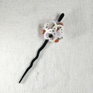 Twist cherry, lucky flowers, hairpin, hairpin, hair plug - powder