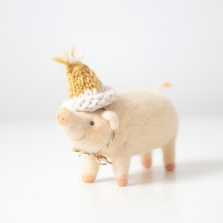 [Horned forest] wool felt fat pig