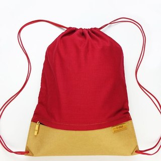 After the beam port backpack tote bag (brown x red) [bamboo] [Green] [natural decomposition]