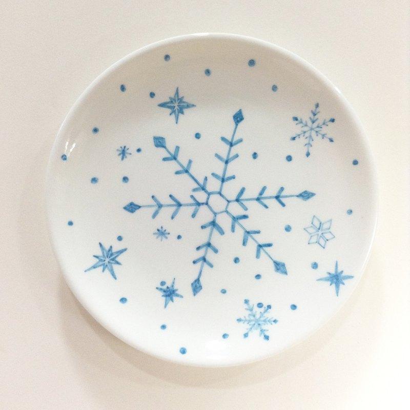 雪花片片/粉藍 - 【無現貨】聖誕手繪6吋蛋糕盤【聖誕節/聖誕禮物/交換禮物】