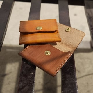 Lovey leather small things / money purse - natural vegetable tanned leather, hand-made Japanese handstitch