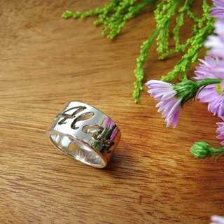 Refrain ReShi / hollow glossy English name ring / 925 sterling silver / custom handmade custom / lover friends family gifts