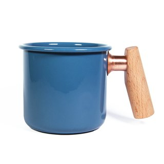 Wooden handle cup 400ml (Persian blue)