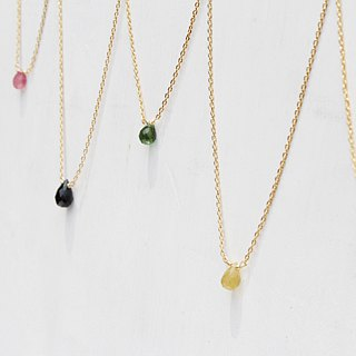 【OCTOBER 10-birthstone-Tourmaline】Clavicle necklace Brass with 22K Gold plated (adjustable)