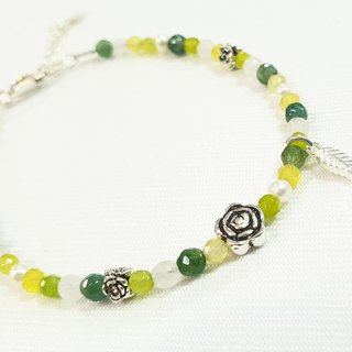 Paris*Le Bonheun. 925 sterling silver natural stone. Very detailed bracelet bracelet. Yellow-green
