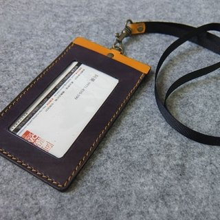 YOURS Leather U-Style Straight Document Holder (with Necklace Ribbon) Grey Blue Leather + Egg Yolk