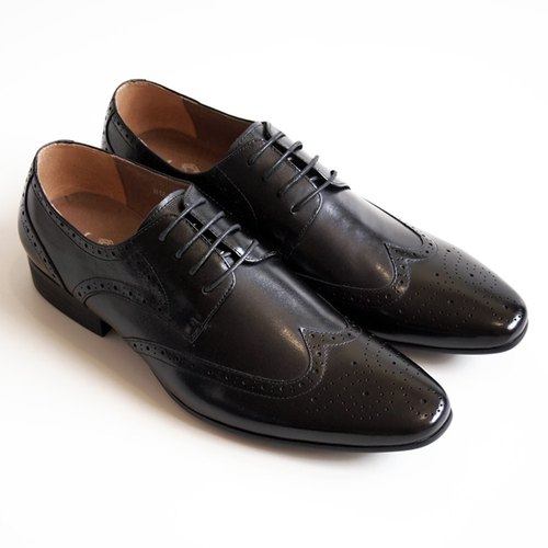 [LMdH] D1A09-99 hand-colored calfskin Wing-tip wing pattern carved wood with black derby shoes ‧ ‧ Free Shipping