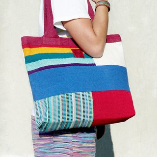 Mother's Day gift hand-woven natural rainbow colorful canvas bag / backpack / shoulder bag / Shoulder Bag - Natural feel spell color design
