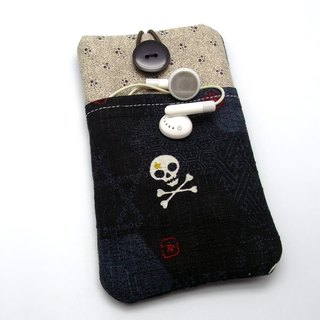 iPhone sleeve, Samsung Galaxy S8, Galaxy Note 8 pouch cover Homemade handphone case, mobile phone bag, cloth cover, (can be customized) - Skull (P-20)