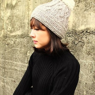【Grooving the beats】Handmade Hand Knit Wool Beanie Hat with Pompom(Grey)