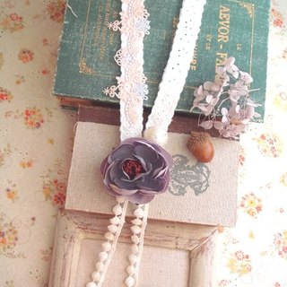 Garohands purple bow camellia pearl banquet cotton feel long chain gift A408 Department of Forestry