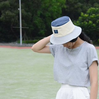 ::Bangstree:: Colorful canvas bucket hat-darkblue+Ivory+gray
