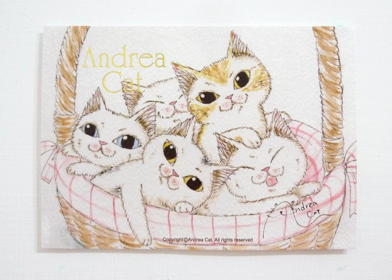 Andrea Cat- Wealthy Street cat kitten postcard group - Porphyry sister and brother