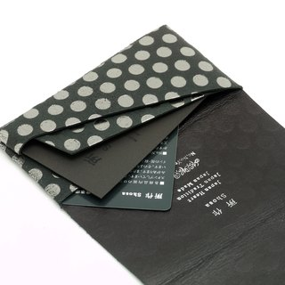 Made Shosa [Japanese handmade vegetable tanned leather] business card holder / clip - Polka Dot paragraph / Black Silver Point