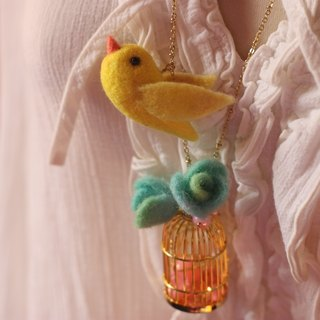 Canary bird cage necklace