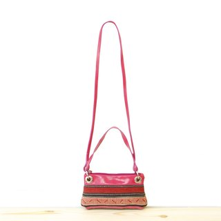 [Happa anniversary celebration of the whole museum 9%] hand / oblique dual-use portable bag - Kilim hand knot section (Raspberry wild flour)