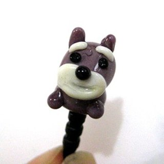 Cute Dog Series ~ (Schnauzer) glass phone dust plug
