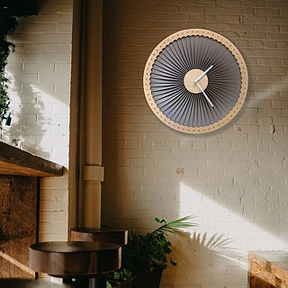 Turbine - wood + plastic wall clock, contemporary wall art