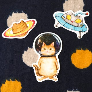 Cats in Space Glass Bowl Stickers