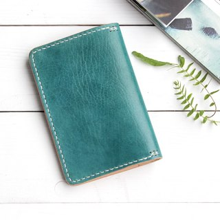 Rustic marine blue hand dyed yak leather handmade passport holder
