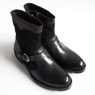 [LMdH] C1C21-99 wash the old process engineer boots leather zipper ENGINEER BOOTS black motorcycle boots ‧ ‧ Free Shipping