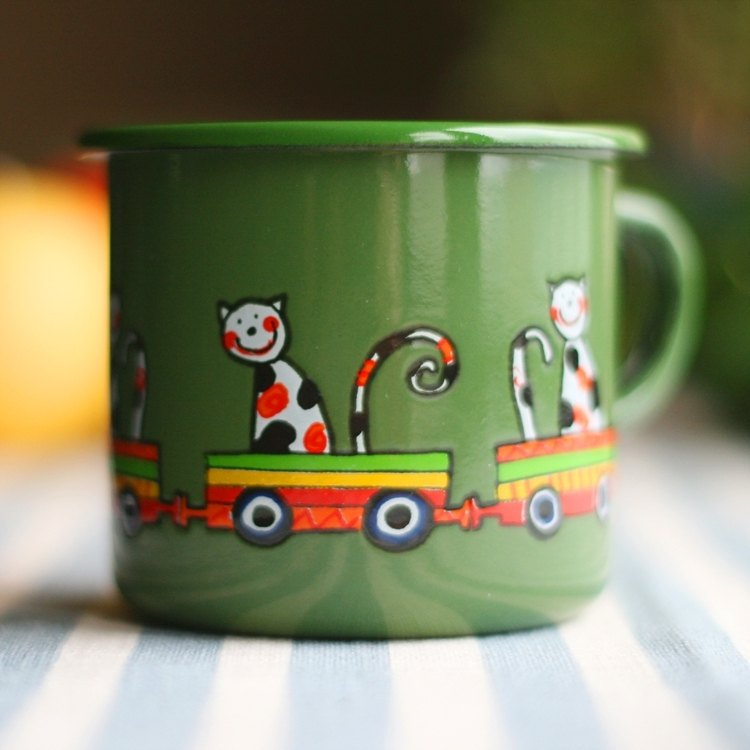 Smaltum Prague enamel cup Wang meow friend _ dark green (250ml) <FDN000037>