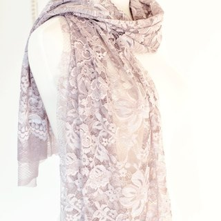Stereo Lace Garden - 靛 Purple Grey Blue - Handmade Shawl / Scarf - Marriage Mother's Day Christmas Customization